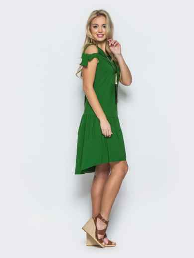 Платье с открытыми плечами и оборкой снизу зеленое - 12604, фото 2 – интернет-магазин Dressa