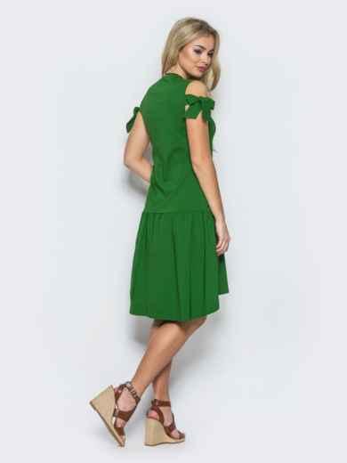 Платье с открытыми плечами и оборкой снизу зеленое - 12604, фото 3 – интернет-магазин Dressa