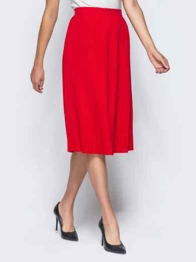 Плиссированная юбка с молнией сзади красная - 16249, фото 2 – интернет-магазин Dressa