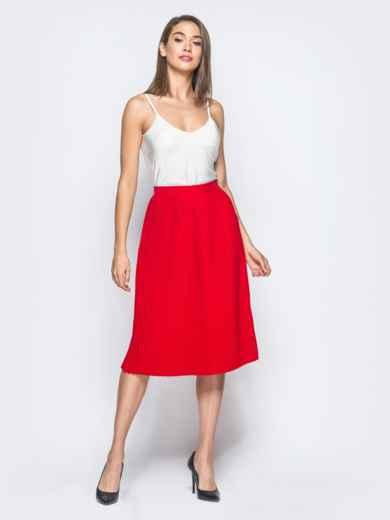 Плиссированная юбка с молнией сзади красная - 16249, фото 4 – интернет-магазин Dressa