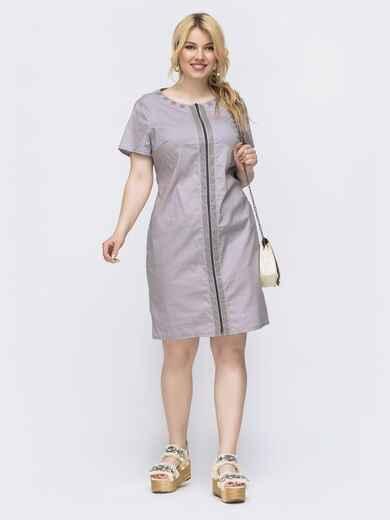 Приталенное платье большого размера серое 46131, фото 1