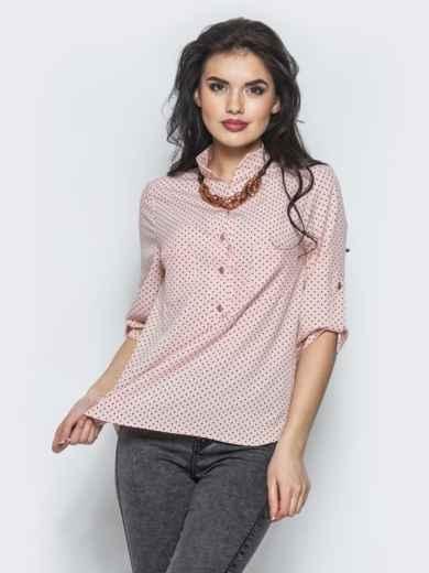 Розовая блузка с функциональными пуговицами на полочке - 12347, фото 2 – интернет-магазин Dressa