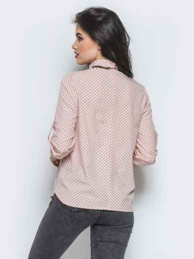 Розовая блузка с функциональными пуговицами на полочке - 12347, фото 3 – интернет-магазин Dressa