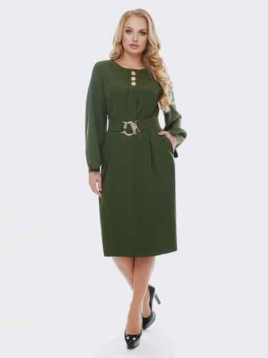 Зелёное платье с расклешенными рукавами 19114, фото 1