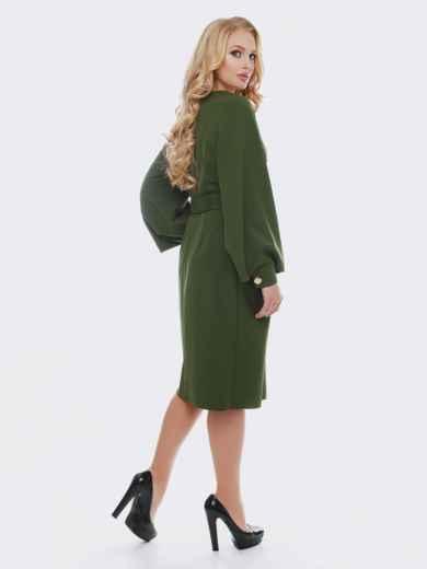 Зелёное платье с расклешенными рукавами - 19114, фото 2 – интернет-магазин Dressa