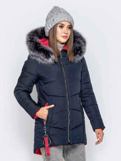 Зимняя куртка с удлиненной спинкой и капюшоном тёмно-синяя 40911, фото 2