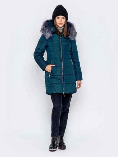Зимняя куртка зеленого цвета с капюшоном - 40907, фото 2 – интернет-магазин Dressa