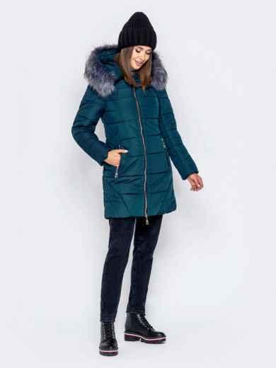Зимняя куртка зеленого цвета с капюшоном - 40907, фото 3 – интернет-магазин Dressa