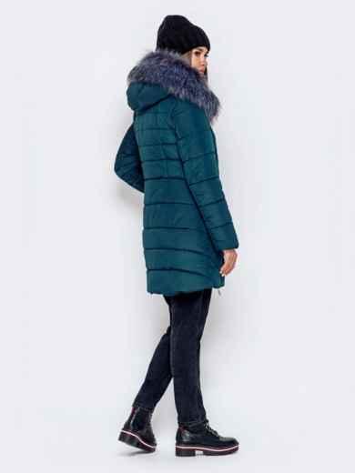 Зимняя куртка зеленого цвета с капюшоном - 40907, фото 4 – интернет-магазин Dressa