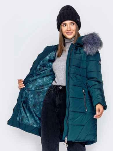 Зимняя куртка зеленого цвета с капюшоном - 40907, фото 5 – интернет-магазин Dressa