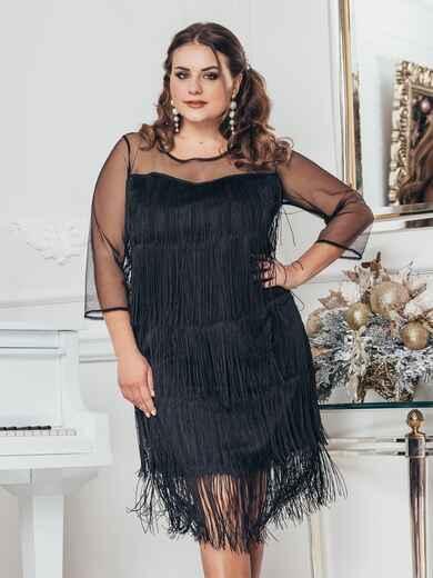 Чёрное платье большого размера с многоярусной бахромой 43760, фото 1