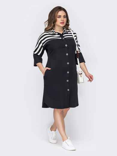 Черное платье-рубашка батал на пуговицах 53590, фото 1