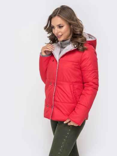 Двухсторонняя куртка на кнопках со съемным капюшоном красная - 41587, фото 2 – интернет-магазин Dressa