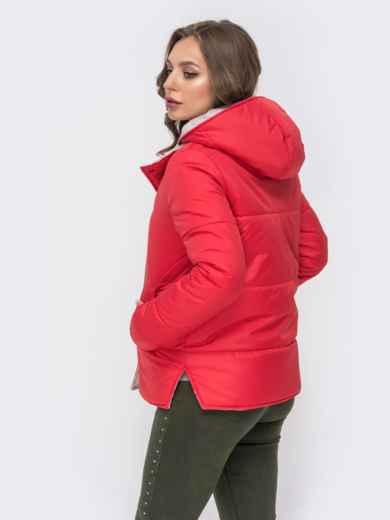 Двухсторонняя куртка на кнопках со съемным капюшоном красная - 41587, фото 3 – интернет-магазин Dressa
