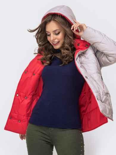 Двухсторонняя куртка на кнопках со съемным капюшоном красная - 41587, фото 4 – интернет-магазин Dressa