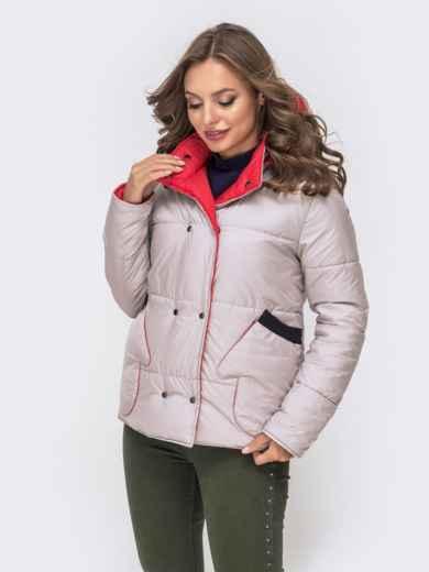 Двухсторонняя куртка на кнопках со съемным капюшоном красная - 41587, фото 5 – интернет-магазин Dressa