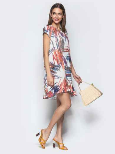 Принтованное платье из софта А-силуэта белое - 22009, фото 2 – интернет-магазин Dressa