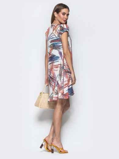 Принтованное платье из софта А-силуэта белое - 22009, фото 3 – интернет-магазин Dressa