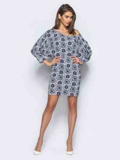Принтованное платье прямого кроя со спущенным плечом - 15732, фото 2 – интернет-магазин Dressa