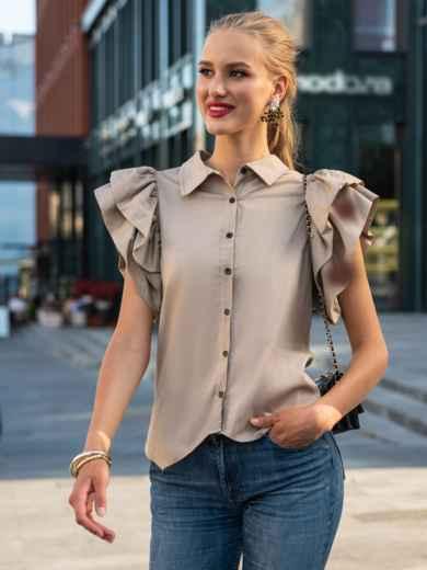 Приталенная блузка с объемными рукавами из воланов бежевая 49775, фото 2