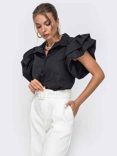 Приталенная блузка с объемными рукавами из воланов чёрная 49773, фото 1