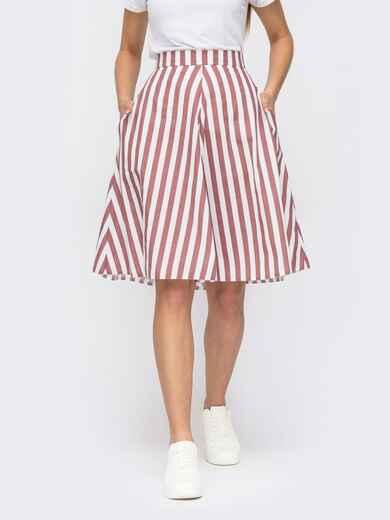 Розовая юбка-трапеция в полоску с карманами по бокам 53917, фото 1