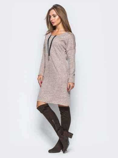 Розовое платье с декоративной молнией - 17497, фото 2 – интернет-магазин Dressa