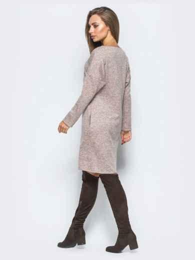 Розовое платье с декоративной молнией - 17497, фото 3 – интернет-магазин Dressa