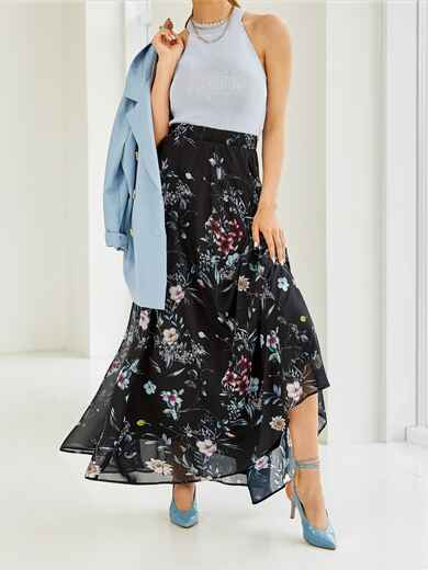 Шифоновая юбка-макси с цветочным принтом черная 53845, фото 1