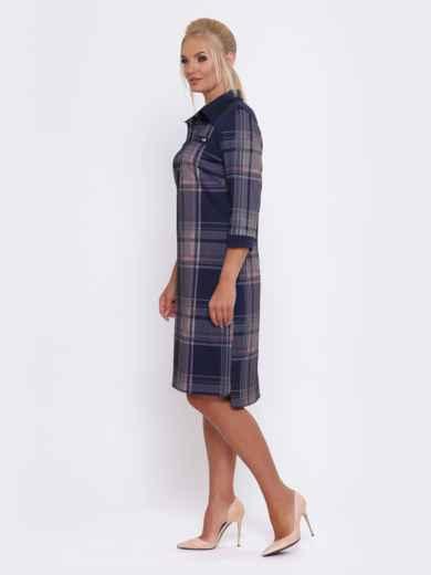 Синее платье-рубашка в розовую клетку - 28469, фото 2 – интернет-магазин Dressa
