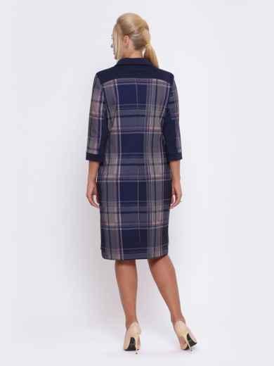 Синее платье-рубашка в розовую клетку - 28469, фото 3 – интернет-магазин Dressa