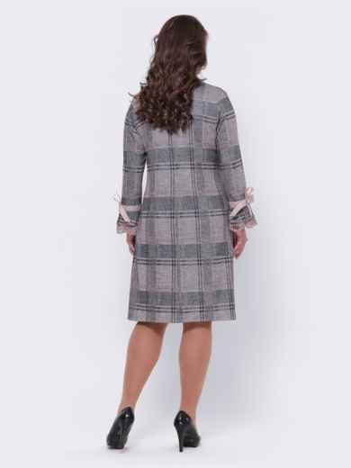 Бежевое платье батал в клетку с кружевом на рукавах 44100, фото 2