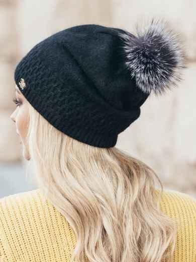 """Черная шапка мелкой вязки с узором """"ромбик"""" - 14963, фото 2 – интернет-магазин Dressa"""