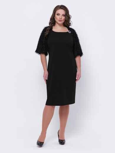 "Чёрное платье батал с рукавом ""реглан"" 44095, фото 1"