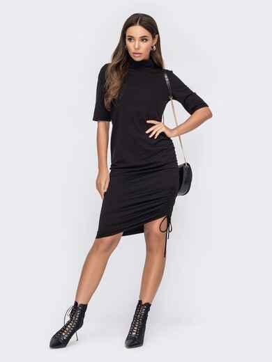 Черное платье-гольф с кулиской сбоку 53086, фото 1