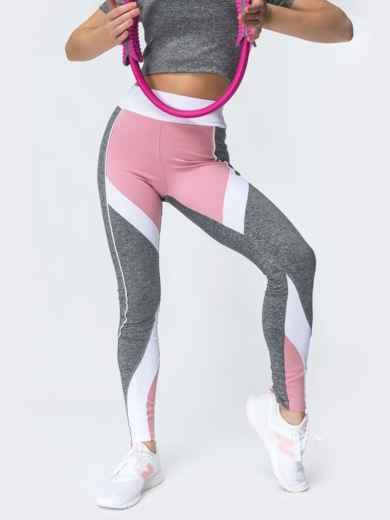Лосины для фитнеса с контрастными вставками светло-серые 44630, фото 2