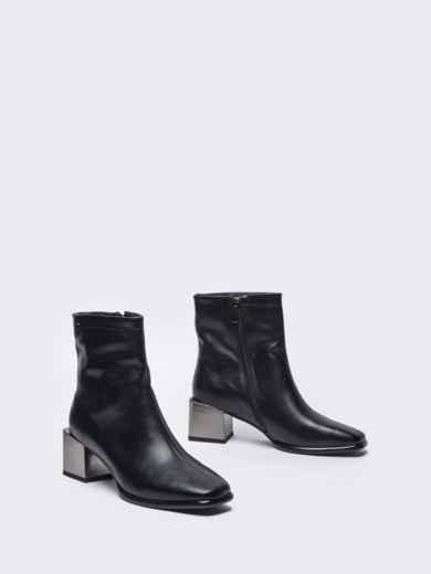 Осенние ботинки на устойчивом каблуке черные 51216, фото 2