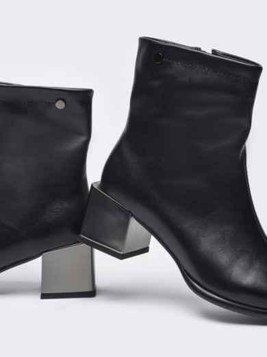 Осенние ботинки на устойчивом каблуке черные 51216, фото 3