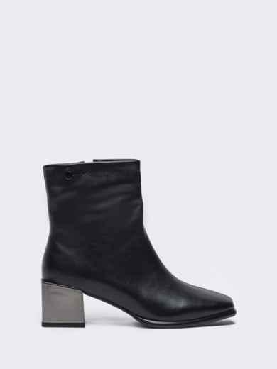 Осенние ботинки на устойчивом каблуке черные 51216, фото 4
