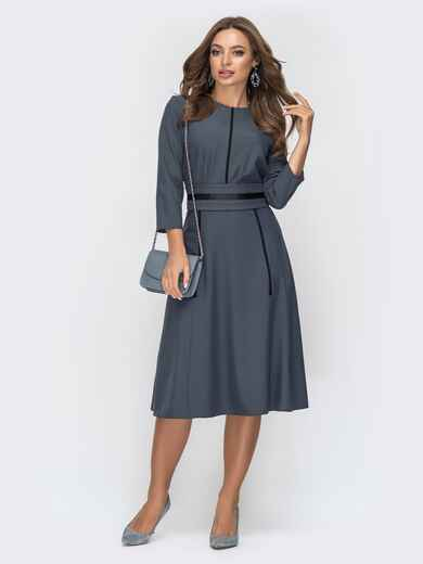 Расклешенное платье серого цвета 44957, фото 1