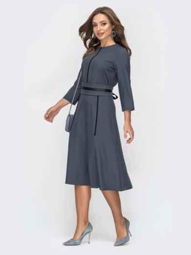 Расклешенное платье серого цвета 44957, фото 2