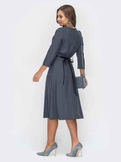Расклешенное платье серого цвета 44957, фото 3
