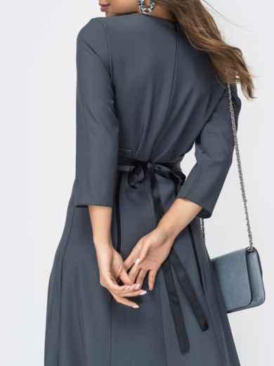 Расклешенное платье серого цвета 44957, фото 4
