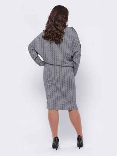 Серое платье большого размера с зауженным низом 44101, фото 3