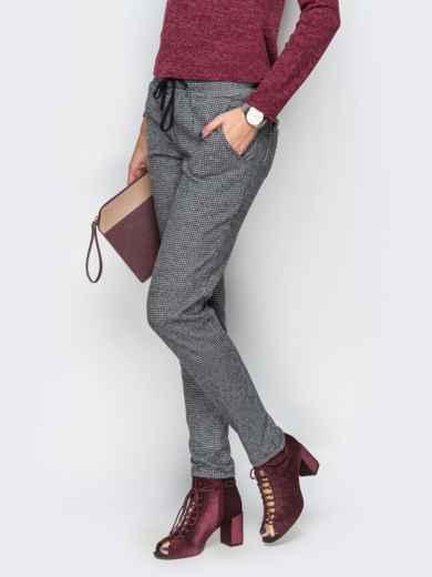 Серые брюки с завязкой на поясе - 10313, фото 2 – интернет-магазин Dressa