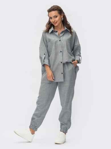 Серый костюм со свободной рубашкой и брюками-джоггерами 54340, фото 1
