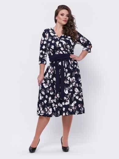 Тёмно-синее платье батал с принтом 44096, фото 1