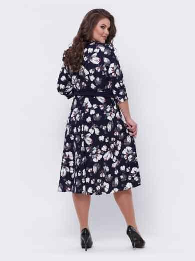 Тёмно-синее платье батал с принтом 44096, фото 2