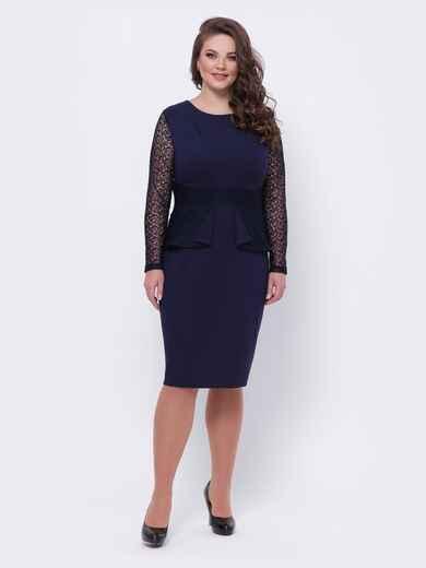 Тёмно-синее платье большого размера с баской 44104, фото 1