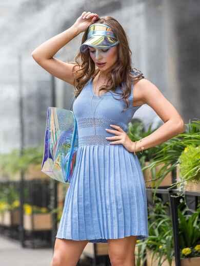 Вязаное платье-мини с юбкой-плиссе голубое 39589, фото 1